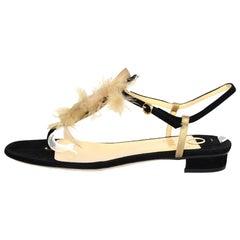 Jour Black Suede Sandals W/ Feather Detail Sz 38 rt. $675