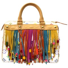 LOUIS VUITTON Limited Edition White Monogram Multicolore Fringe Speedy 25 Bag