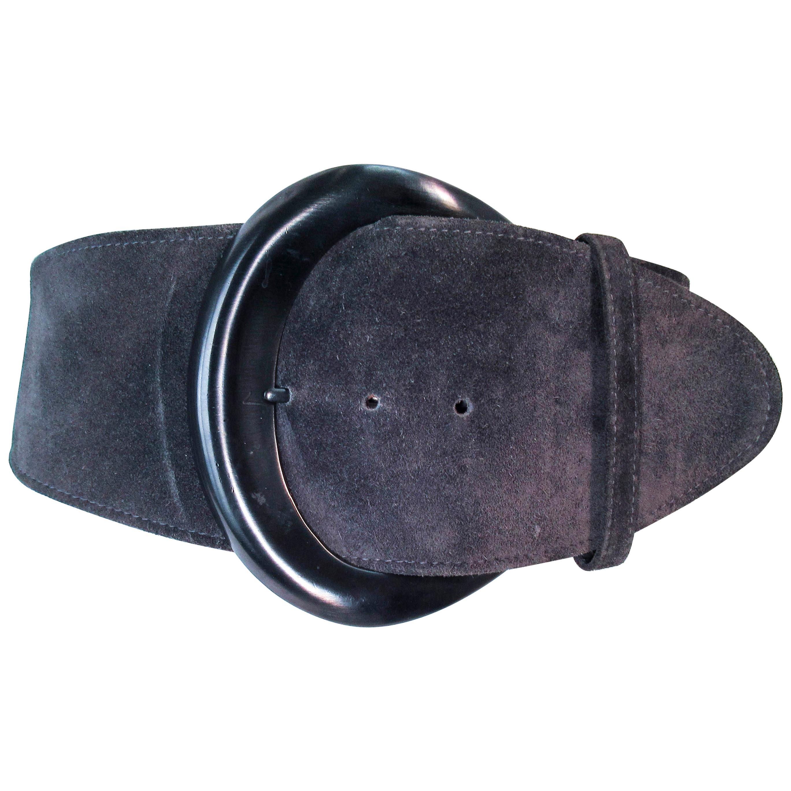 DONNA KARAN Grey Wide Suede Belt with Gunmetal Tone Buckle Size XS