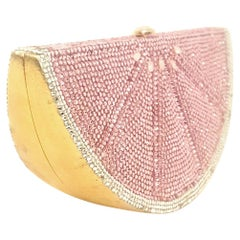 Judith Leiber Pink  and White Grapefruit Slice Clutch