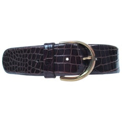 DONNA KARAN Brown Alligator Belt with Gold Tone Hardware Size Petite
