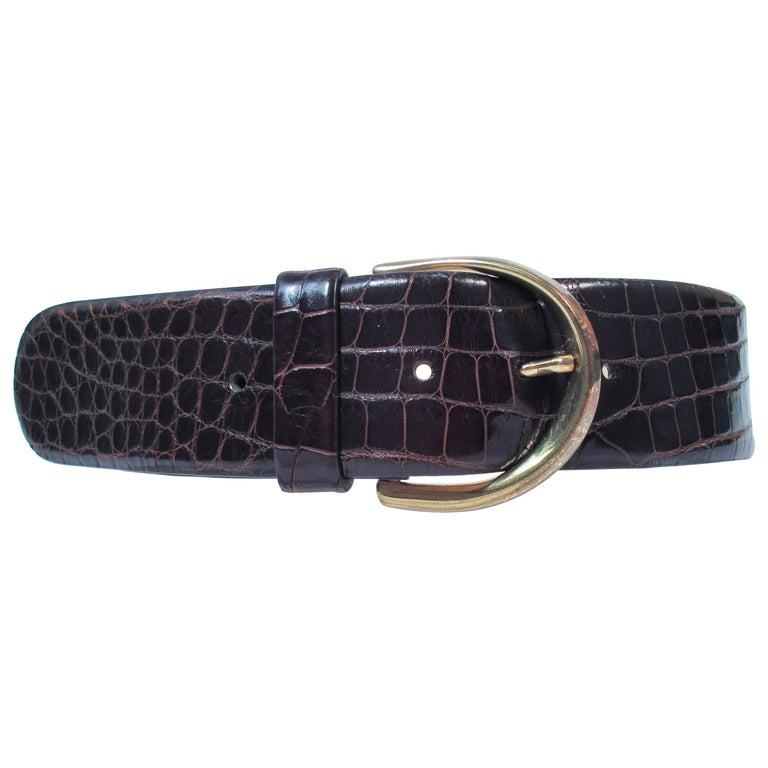 DONNA KARAN Brown Alligator Belt with Gold Tone Hardware Size Petite  For Sale