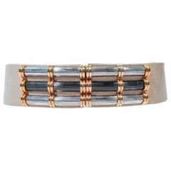 JUDITH LEIBER Nude Lizard Belt Metal Buckle Accent