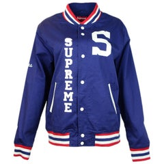 Supreme Unisex Navy Cotton Blend Logo Varsity Jacket Sz Men's L