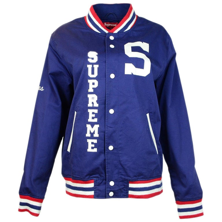 Supreme Unisex Navy Cotton Blend Logo Varsity Jacket Sz Men's L  For Sale