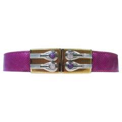 JUDITH LEIBER Magenta Lizard Skin Adjustable Belt with Metal Buckle
