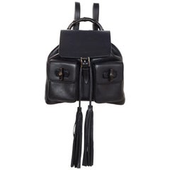 Gucci Black Leather Medium Bamboo Backpack Bag W/ Tassel Drawstring rt. $2,590