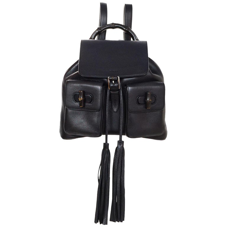 6e29390c12d8 Gucci Black Leather Medium Bamboo Backpack Bag W/ Tassel Drawstring rt.  $2,590 For Sale