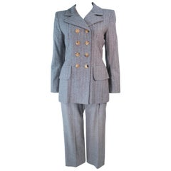 YVES SAINT LAURENT Grey Wool Pinstripe Cropped Trouser Set Size 40