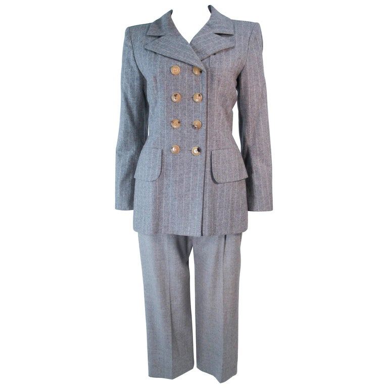 3d73bccd29b YVES SAINT LAURENT Grey Wool Pinstripe Cropped Trouser Set Size 40 For Sale