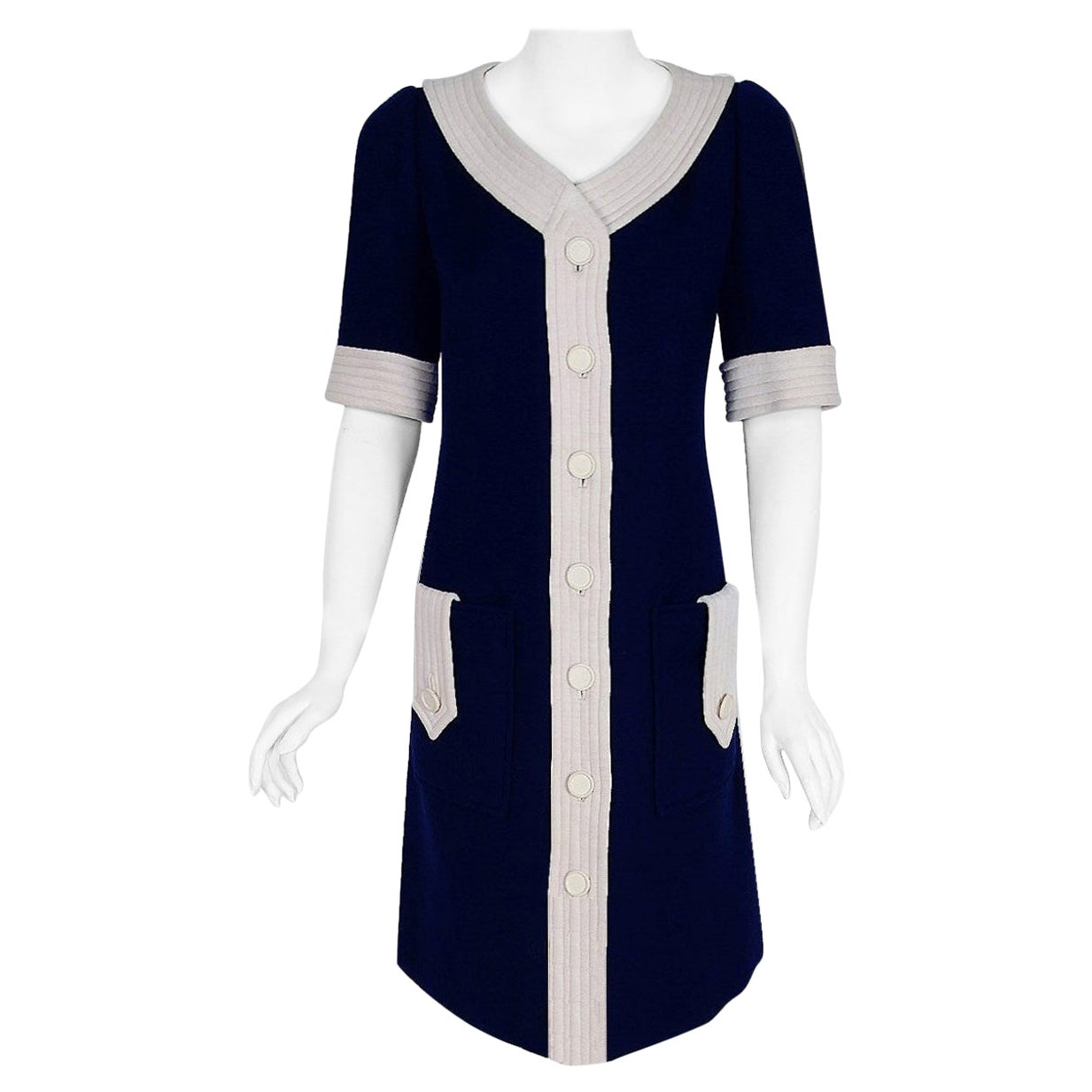 Vintage 1967 Courreges Couture Navy & White Wool Block Color Mod Space-Age Dress