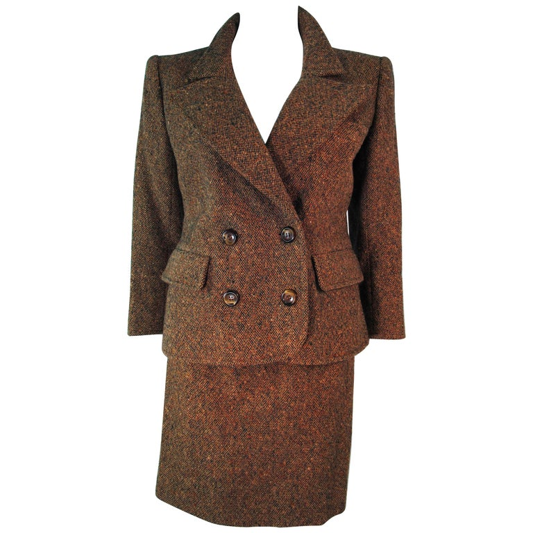 YVES SAINT LAURENT 1970's Brown & Green Skirt Suit Size 4 6 For Sale