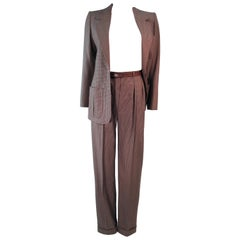YVES SAINT LAURENT Classic 3PC Brown Pantsuit w/ Belted