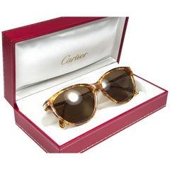 Cartier Eclat Jaspe Gold Sunglasses Brown France 18k Gold 1991