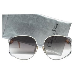 New Vintage Christian Dior 2250 Oversized Silver White & Beige Sunglasses