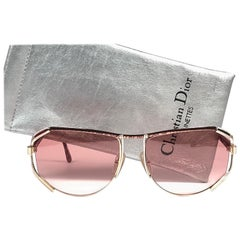 New Vintage Christian Dior 2609 Oversized Gold & Rose Details Sunglasses