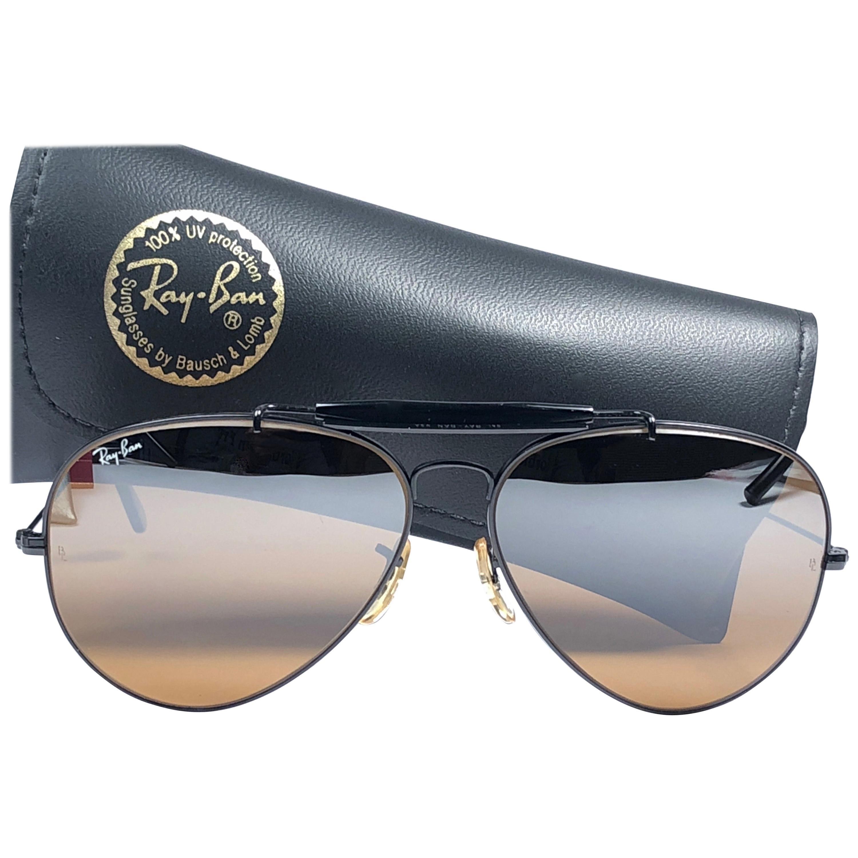 New Ray Ban Vintage Outdoorsman Black B15 Top Mirror 62Mm Sunglasses, 1970s
