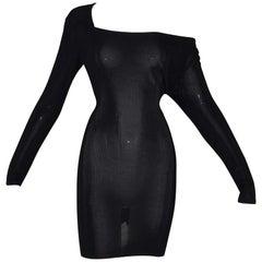 Vintage 1989 Dolce & Gabbana Sheer Black Knit L/S Off Shoulder Mini Dress