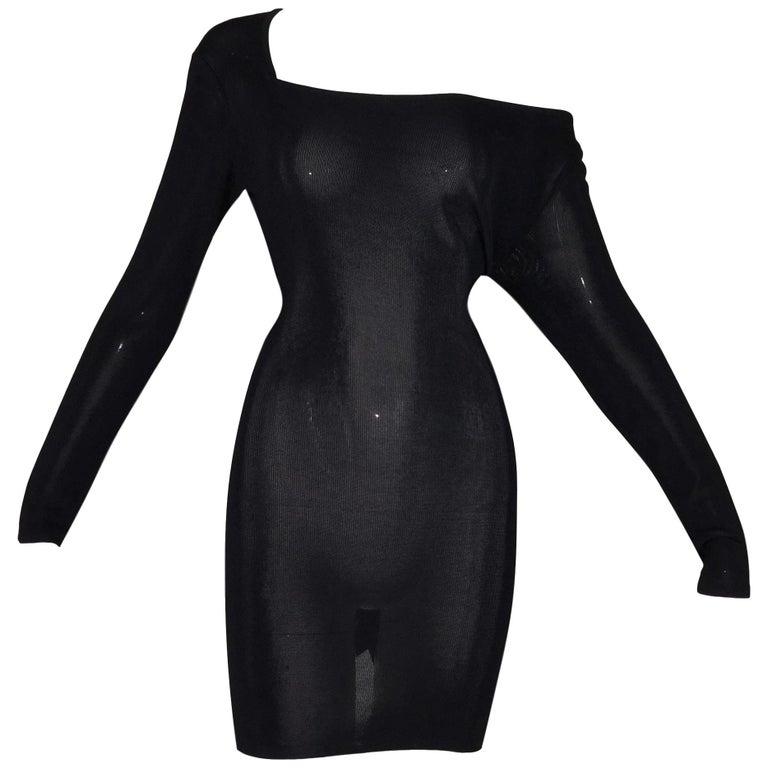 Vintage 1989 Dolce & Gabbana Sheer Black Knit L/S Off Shoulder Mini Dress For Sale