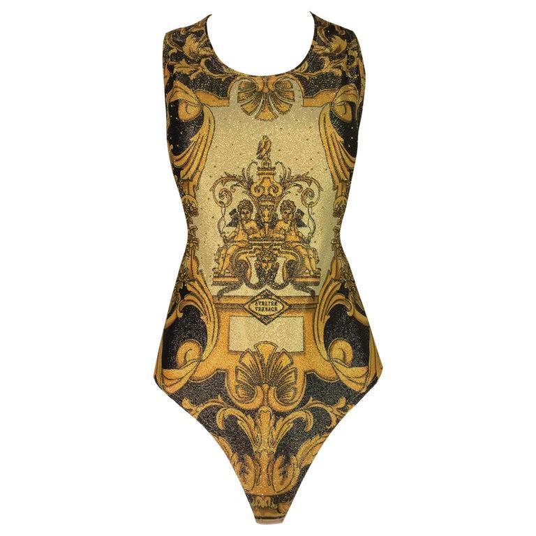 1992 Gianni Versace Atelier Print Gold Studded Bodysuit Top 42