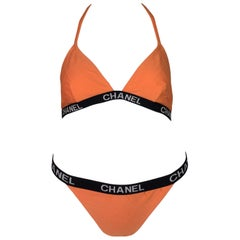 C. 1995 Chanel Orange Monogram Logo Bikini Swimwear