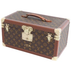 Louis Vuitton Monogram Train Case Vanity Small Trunk Boite Bouteilles Vintage