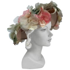 1950s Beige Picture Hat with Silk Multicolored Flowers