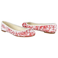 Giuseppe Zanotti Shoe Ballet Flat White and Red Sequins 38.5 / 8.5