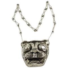 Guy Laroche Paris Signed Modernist Chrome Lion Medallion Pendant Necklace