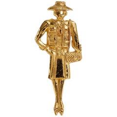Chanel Gold Coco Vintage Runway Pin Brooch