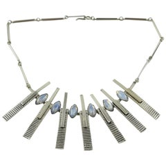 Mid Century Space Age Chrome Modernist Rigid Necklace with Glass Cabochons