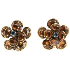 Iradj Moini Crystal Flower Clip On Earrings