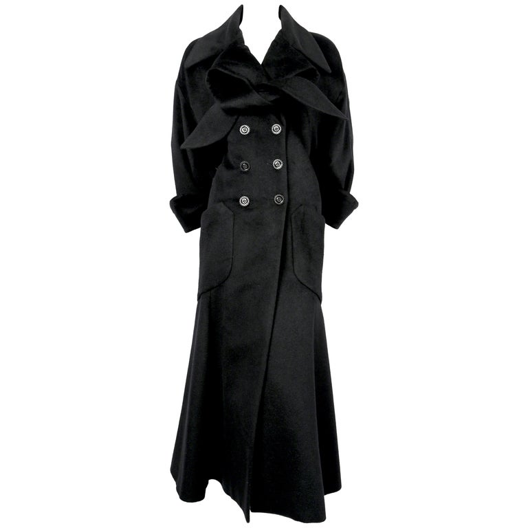 early 1990's KARL LAGERFELD black angora wool coat with neck-tie