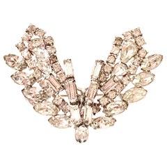 "1950'S Silver & Austrian Crystal ""Victory"" Brooch"