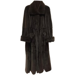 Floor-length sheared velvet silk mink fur coat. Dark brown (12)
