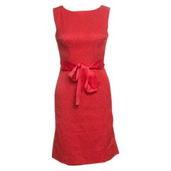 CH Carolina Herrera Red Embossed Jacquard Belted Sleeveless Dress XS