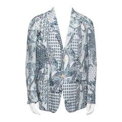 Etro Off White Paisley Printed Linen Blazer L