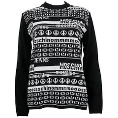 Moschino Vintage Black and White Computer Screen Wool Light Sweater Size M