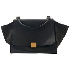 Celine Trapeze Medium Black Suede and Calfskin