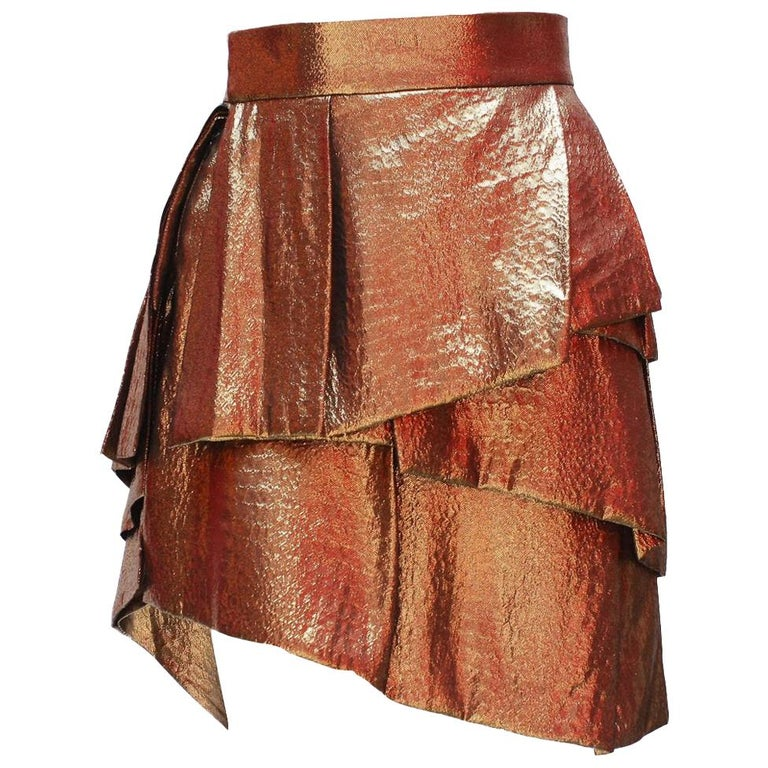 Alexandre Vauthier Gold Layered Skirt For Sale
