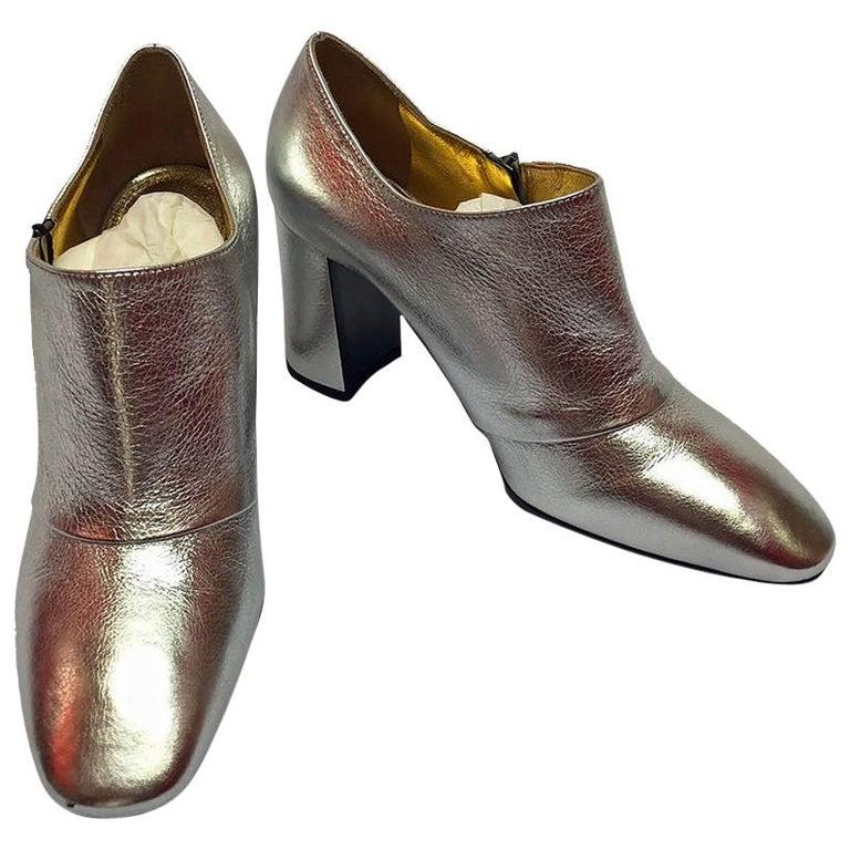 Bottega Veneta Silver Ankle Boot For Sale