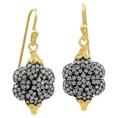 Fern Freeman Double-Sided Diamond Yellow Gold Dangle Drop Earrings