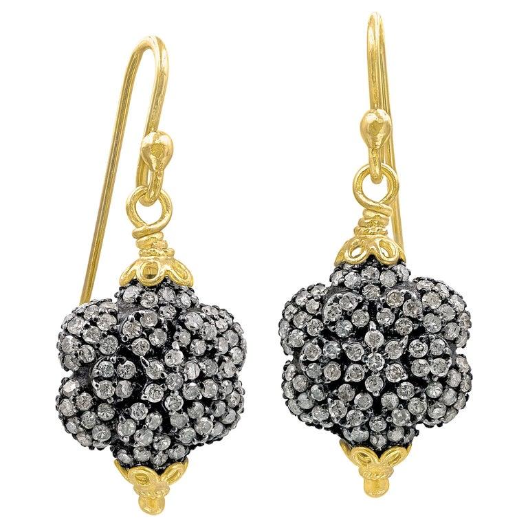 Fern Freeman Double-Sided Diamond Yellow Gold Dangle Drop Earrings For Sale