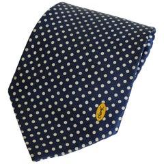Yves Saint Laurent Tie Polka Dot Handmade Silk Vintage Blue, 1990s