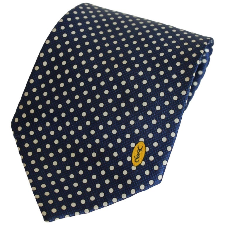 Yves Saint Laurent Tie Polka Dot Handmade Silk Vintage Blue, 1990s For Sale