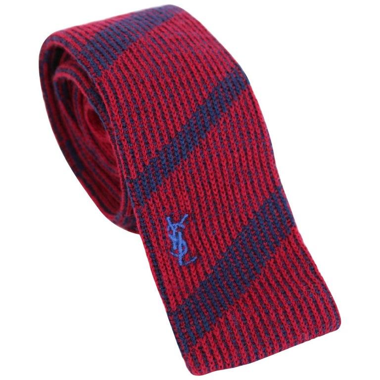 Yves Saint Laurent Pinstripe Tie Wool Vintage Blue Red, 1990 For Sale