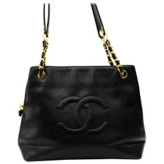 1992s Chanel Black Cavier Leather Shopping Bag