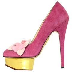 Charlotte Olympia Pink Suede Gold Platform Pumps Heels W/ Flower Sz 36