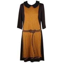 Roberta Di Camerino Vintage Trompe l'Oeil 3/4 Sleeve Dress Size 48