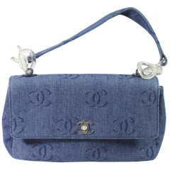 Chanel Denim Shoulder Bag with bakelite Chain and Lock